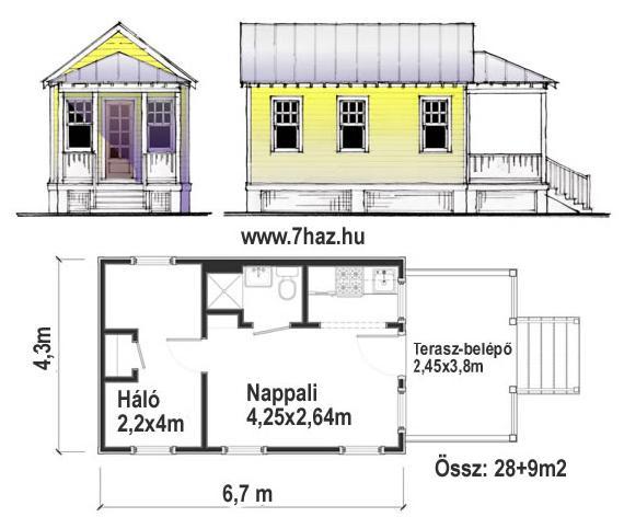 Kis családi ház 28 m2 házterve, alaprajz és homlokzatok