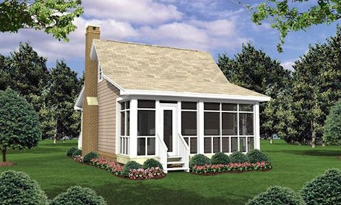 Kis családi ház 40 m2 hátsó homlokzata